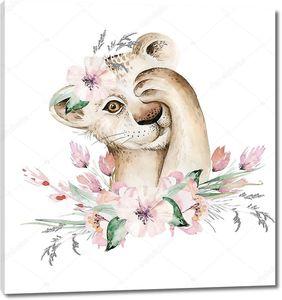 Львенок с цветочным букетом