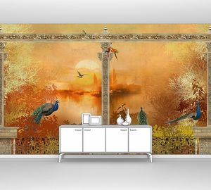 Балкон с птицами на закате