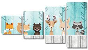 Лесные звери за забором