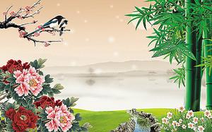 Цветы и бамбук на фоне озера
