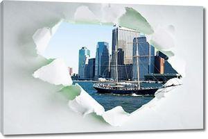 Нью-Йорк через отверстие в листе бумаги
