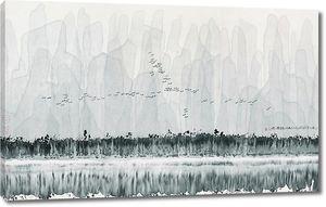 Перелетные птицы над лесом