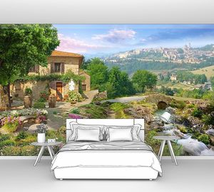 Красивый сад с водопадом у дома