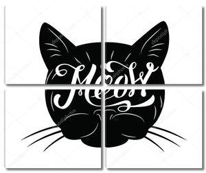Черная кошка силуэт