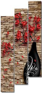 Черная вазочка у кирпичной стены