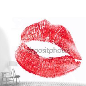 Красные губы, изолированные на белом фоне