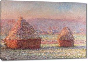 Моне Клод. Стога Сена - Белый Иней, Восход, 1889