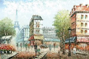 Живописный рисунок с видом на Эйфелеву башню