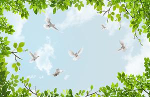 Голуби в небе с облаками