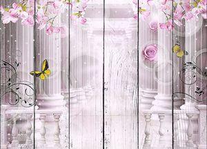 Колонны в цветах с бабочками