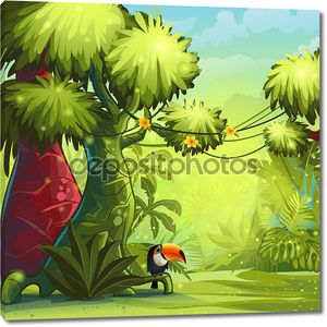 Солнечное утро в джунглях с птицей Тукан