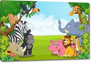 коллекция животных мультфильм в джунглях
