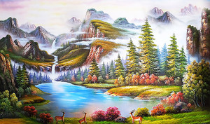Косули на живописном озере