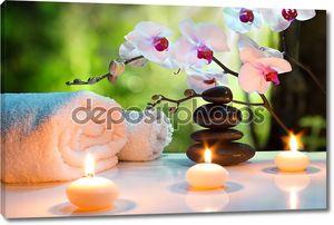 Массаж Спа композиции со свечами, орхидеи, камни в саду