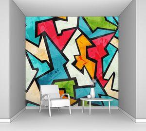 Граффити мозаика бесшовный паттерн с гранж эффект