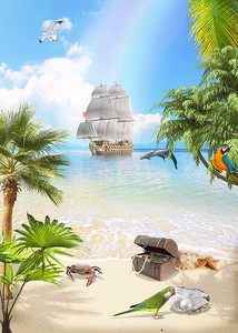 Пейзаж острова сокровищ
