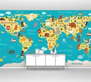 Карта мира с животными по фону