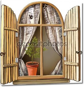 Old window with wooden frame