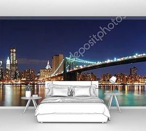 Панорама Нью-Йорка в ночном освещении