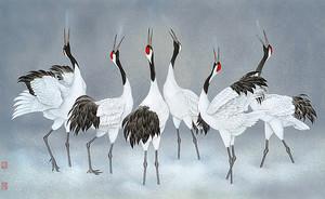 Птицы на сером фоне
