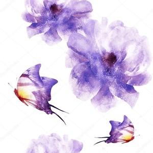 Акварельные бабочки  с цветами