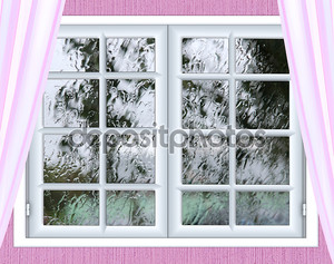 оконное стекло с капелькой дождя