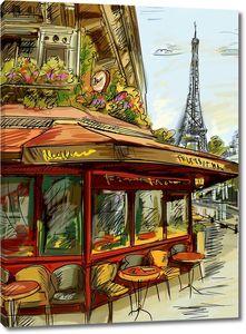 Рисунок кафешки на фоне Эйфелевой башни