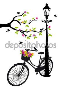 велосипед с лампа, цветов и дерева, вектор