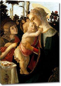 Боттичелли. Мадонна с младенцем и юным Иоанном Крест. в розовом саду