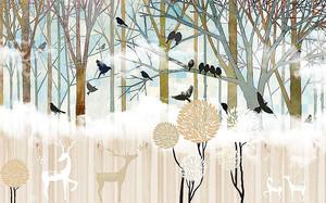 Абстрактный пейзаж с оленями