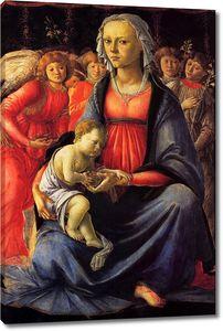 Боттичелли. Мадонна с младенцем в окружении пяти ангелов_2