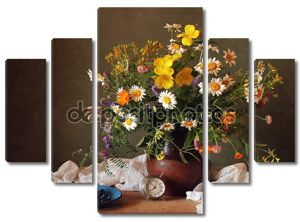 Still life with a bouquet of summer flowers.