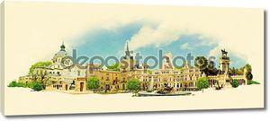 Акварель вектор Иллюстрация города Мадрид