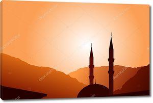Вектор мечеть силуэт на закате