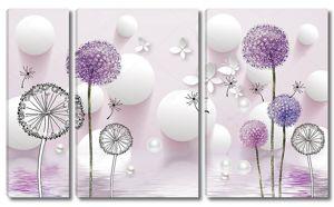 Белые шары, жемчуг, разноцветные одуванчики