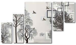 Абстракция с деревьями и квадратами