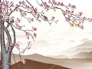 Цветущее дерево на фоне холмов