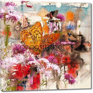 Бабочка и абстрактной акварели, справочная