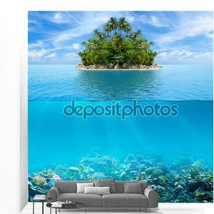 Дна и воды поверхности подводных коралловых рифов с тропической isl