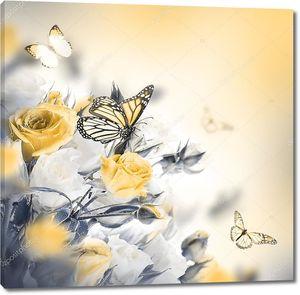 Букет из желтых  роз с бабочками