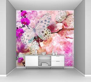 Орхидеи цветут на розовом фоне