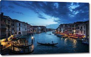 Гранд-канал в время заката, Венеция, Италия.