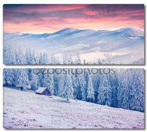 Восход солнца зимой в Карпатах