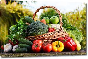 Плетеная корзина с ассорти из сырых органических овощей в саду