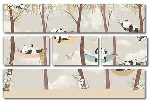 Панды в гамаках