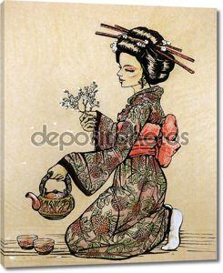 Чайная церемония в японском стиле: Гейша