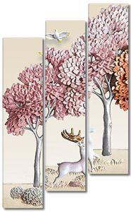 Деревья и олень