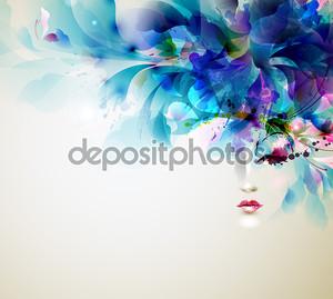 красивая абстрактная женщина с элементами абстрактного дизайна