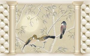 Птицы на ветках в раме из колонн