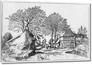 Брейгель. Гравюра. Вид сельской улицы с отдыхающей  парой и бегущим ребёнком (офорт)